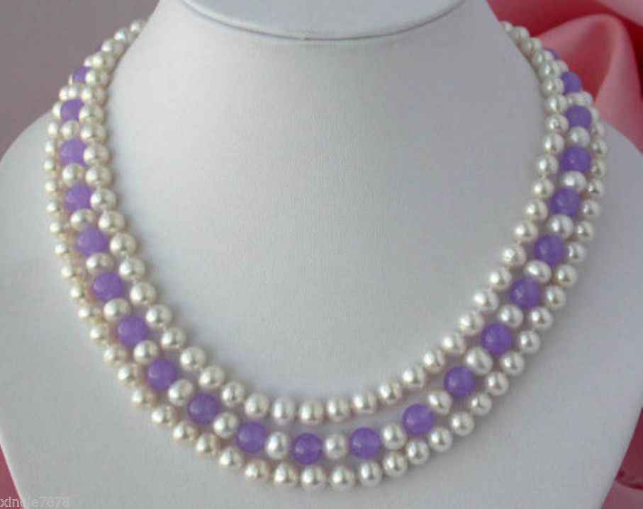 """7-8mm Real Natural Multicolor Akoya Cultured Pearl Necklace 50"""""""