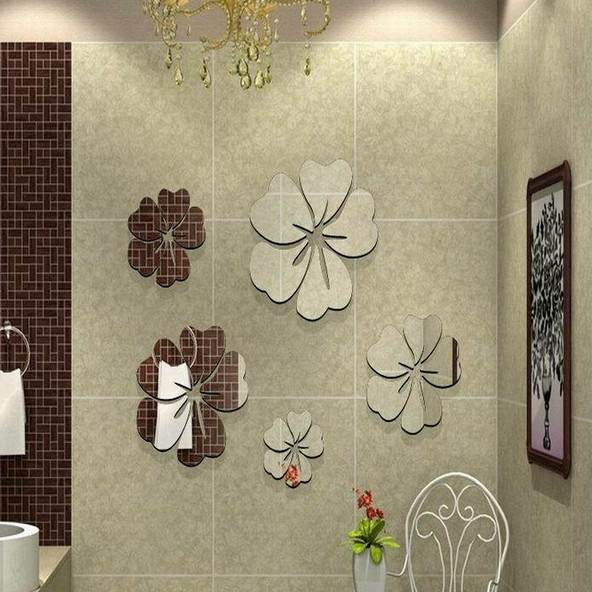 Fancy Fix Acrylic Mirror Effect Wall Decals Flower Shaped Mirrors Stickers