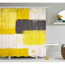 Vixm Grey and Yellow Shower Curtain Abstract Grunge Style Brushstrokes Painting Style Fabric Bath Curtains(China)