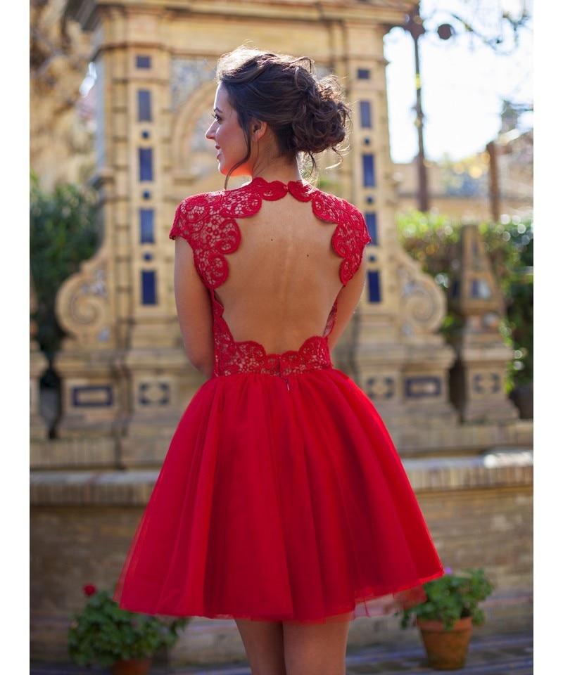 backless atractivo corto mini de la manga casquillo rojo de novia