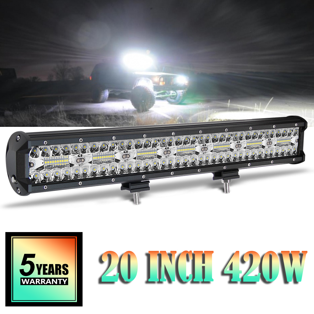 CO LIGHT 20inch 420W Led Bar Offroad 3-Row Combo Beam Work Light 4WD 4x4 Light Bar for Boat Jeep Truck SUV ATV Auto Driving Lamp