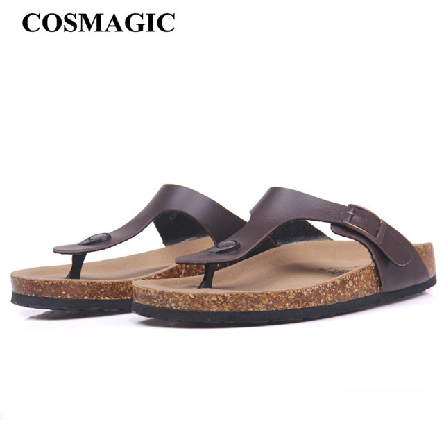 COSMAGIC New Beach Cork Flip Flops Slippers 2018 Casual Summer Women Mixed Color Print Slip on Slides Shoe Plus Size
