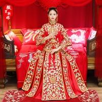 Bride Traditions Red Women Phoenix Embroidery Cheongsam Long Qipao Wedding Dresses Traditional Chinese Dress Chinees Jurkje