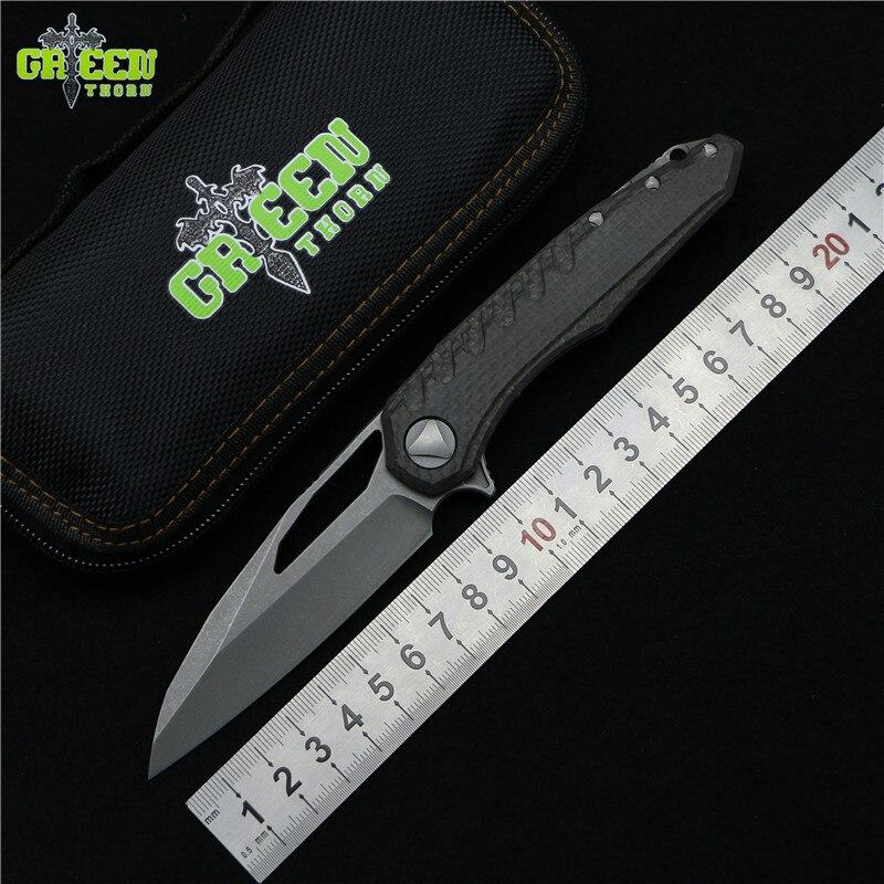 Vert épine marfione Flipper couteau pliant M390 roulement en acier titane CF poignée camping chasse extérieure fruits Couteaux EDC outils