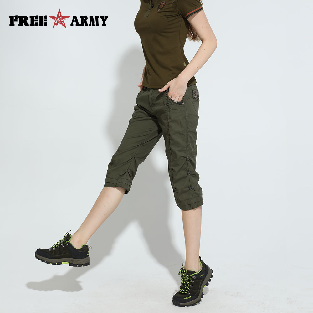 FreeArmy Green Camouflage Slim Shorts Women Half Medium Waist Military Style Summer Women Joggers Shorts Casual Capris Plus Size