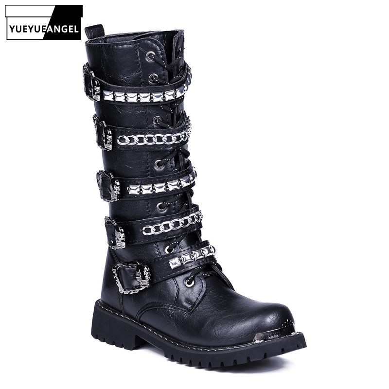 Black Boots Men Punk Military Boots Fashion Rivets High-Top Pu Leather Shoes Top Quality Zip Army Combat High Boots Casual ShoesBlack Boots Men Punk Military Boots Fashion Rivets High-Top Pu Leather Shoes Top Quality Zip Army Combat High Boots Casual Shoes