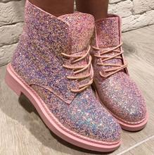Crystal Bling Bling Sequins ankle booties women flat shoe lace up pink black white brown china cheaper shoe Autumn WINTER