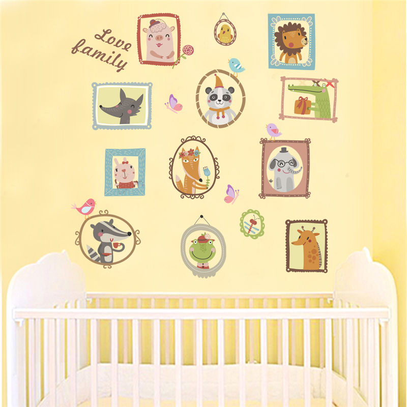 Love Family Quote Cartoon Animals Wall Stickers Butterfly Birds ...