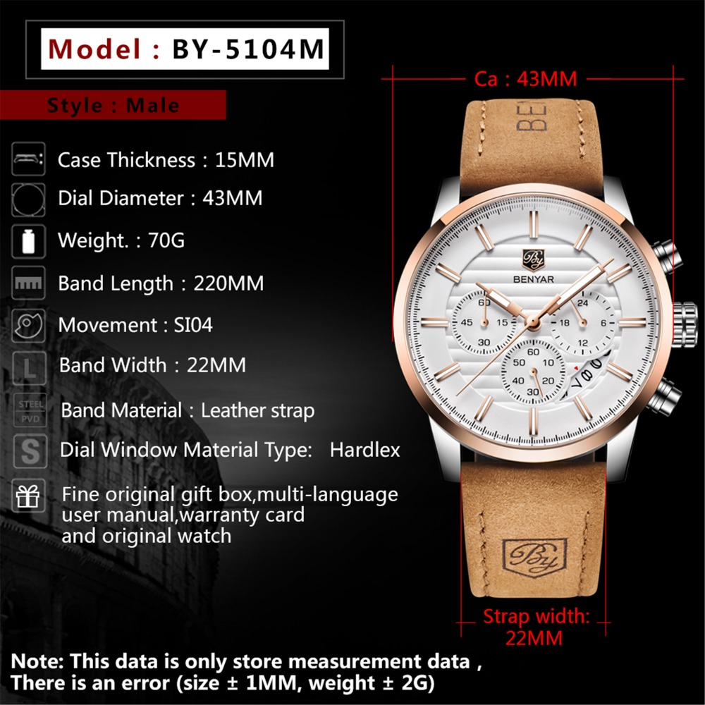 HTB1IDRbXs vK1RkSmRyq6xwupXaM - BENYAR Top Brand New Casual Fashion Men Quartz Watch Luxury Military Leather Strap Chronograph Men Watch Relogio Masculino