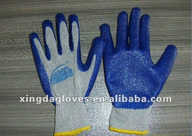 Free Shipping! wholesale 12 pairs/dozen 10 Gauge blue coton knitted latex coated dipped working gloves/safety protective gloves/