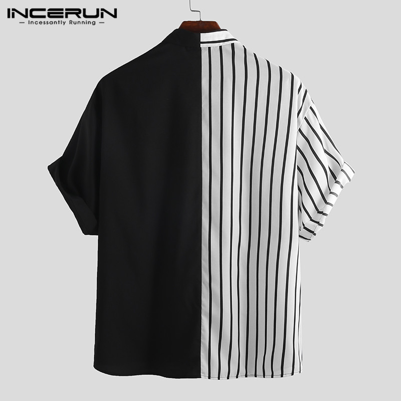 Fashion Striped Patchwork Men Shirt 1