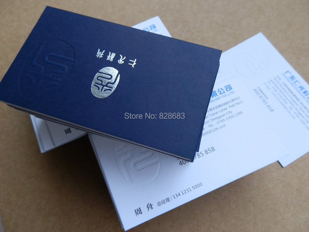 200pcs Triplex Paper business card 600 gms blue and white paper