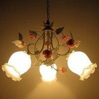 Jardim americano flores de vidro ferro branco luz pingente quarto das crianças três cabeça iluminação