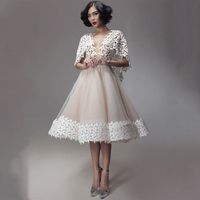 Fashion weddings O Neck Lace Sheer Back Cap Short Knee Length Summer Prom mother of the bride Dresses