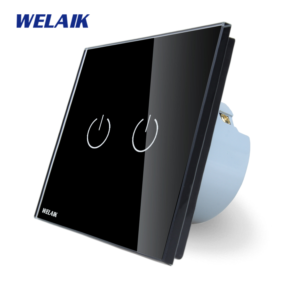 WELAIK Crystal Glass Panel Switch black Wall Switch EU Touch Switch Screen Wall Light Switch 2gang1way AC110~250V A1921B welaik crystal glass panel switch white wall switch eu remote control touch switch light switch 1gang2way ac110 250v a1914w b