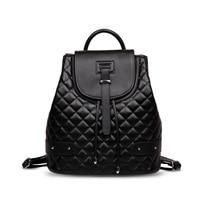 MUPO Brand Fashion Women Genuine Cow Leather Rhombus Pattern Backpacks School Bag Cowhide Back Bag 2017 New 160115010