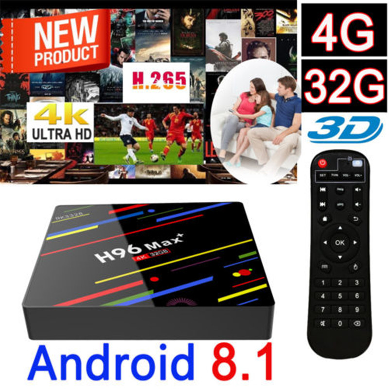 AKASO H96MAX+ Android 8.1 TV Box 4K Quad Core Smart TV Box 4+32G Media Player Streamer H96 MAX Plus RK3328 Set Top Box цена