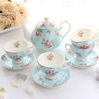 European style coffee cup set home ceramic red tea cup pot bone porcelain English afternoon tea cup set wx9131338