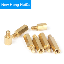 цена на M3 Hex Brass Male Female Standoff Stud Board Threaded Pillar Mount Hexagon PCB Motherboard Spacer Hollow Bolt Screw M3*L+4mm