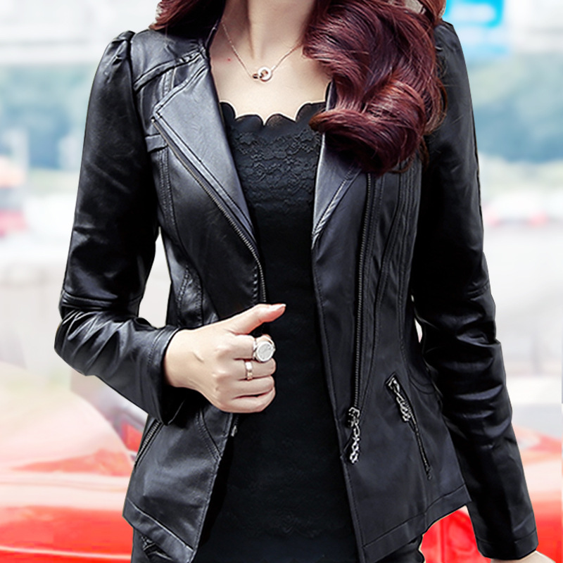 QMGOOD 2018 Autumn Women Fashion PU   Leather   Jacket Women Casual Faux Short Coat Women Plus Size Bomber Jackets Female Outerwear