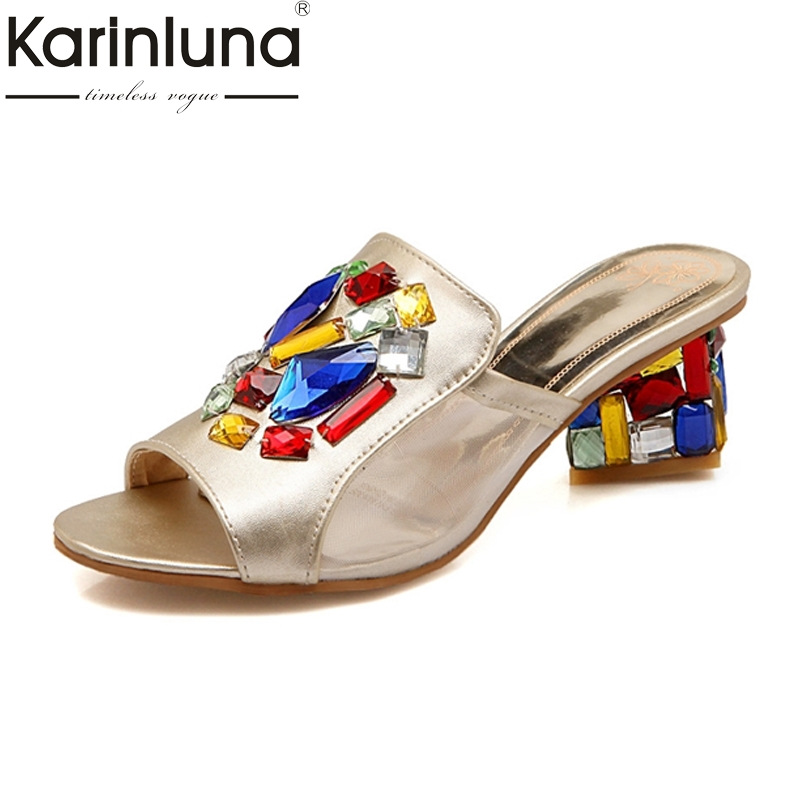 Big Size 32 43 Peep Toe Patchwork Women Shoes Crystal Women Summer Slides 2018 New Arrival