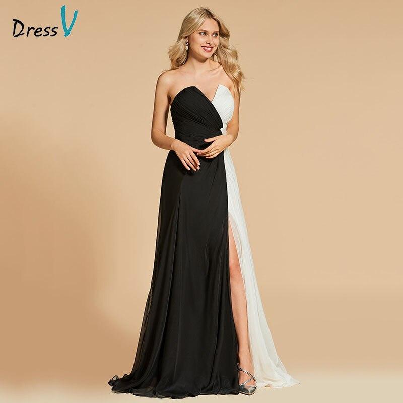 Вечернее платье Dressv, а силуэта, без бретелек, с раздельным передом, длиной до пола, на молнии, для свадебной вечеринки, формальное платье, веч
