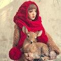 Presente de natal Magia grandes bonecos de outono e inverno doce da moda orelha torcida cachecol de lã chapéu feito malha