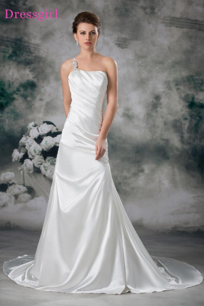 Plus Size Vestido De Noiva 2017 Vestidos de Casamento Da Sereia One-ombro Plissado Frisado Turquia Boho Do Vestido de Casamento Vestidos de Noiva