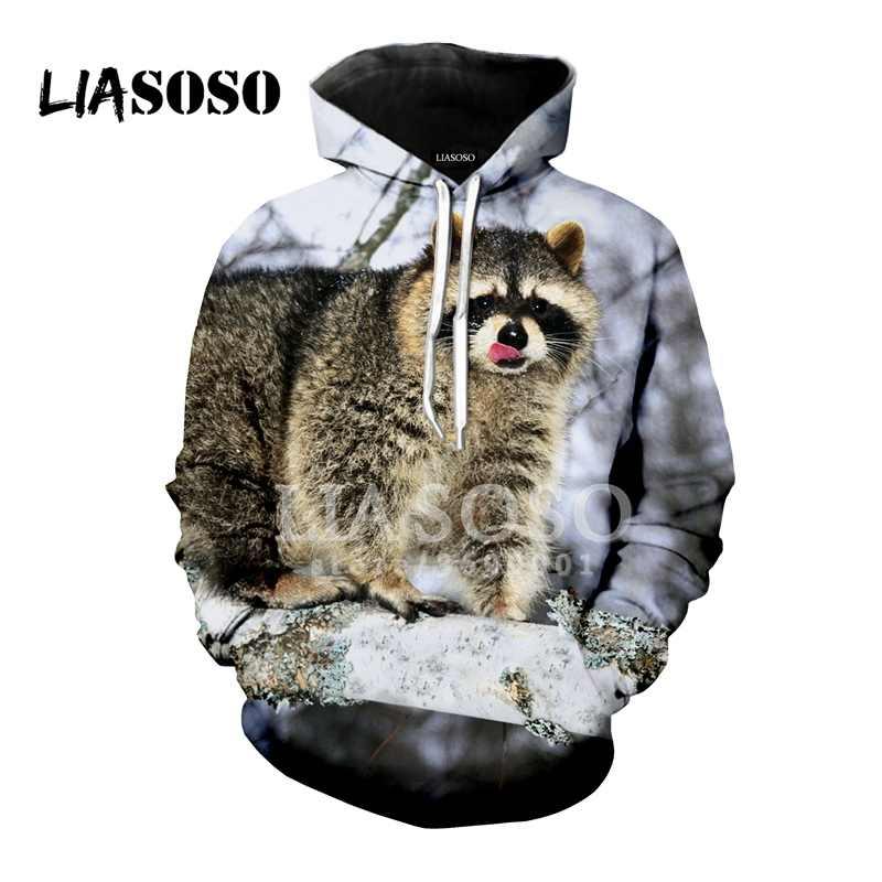 5fa9873f6b95 LIASOSO 2018 New Funny Animal Cute Raccoon 3D Print Women Men Hooded  Hoodies Sweatshirts Pullover Harajuku