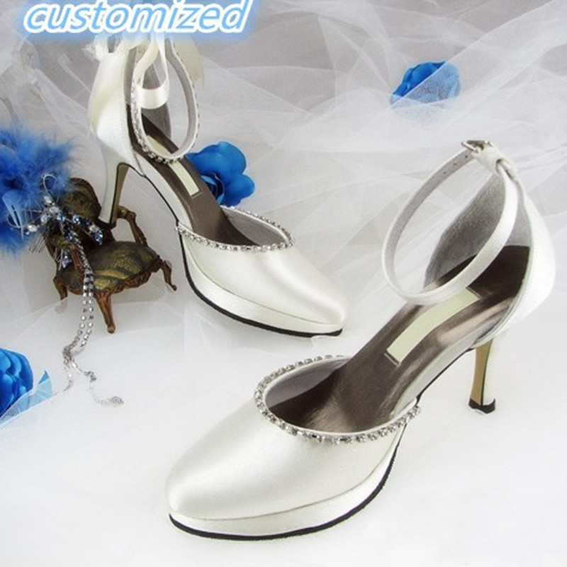 Фото Ladies Faux Diamond Silk satin bowtie customized bridal shoes sexy full genuine leather high heels shoes for wedding Party 34-46