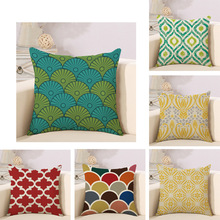 Colorful Geometry pattern Cushion cover Geometric Printed pillowcases Linen cotton Pillow covers Sofa 45x45cm cushion