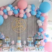 METABLE 100 pcs 12/10 Inch Baby Blue Pink Matte White Balloons Gender Reveal Party Supplies for baby shower, gender revral