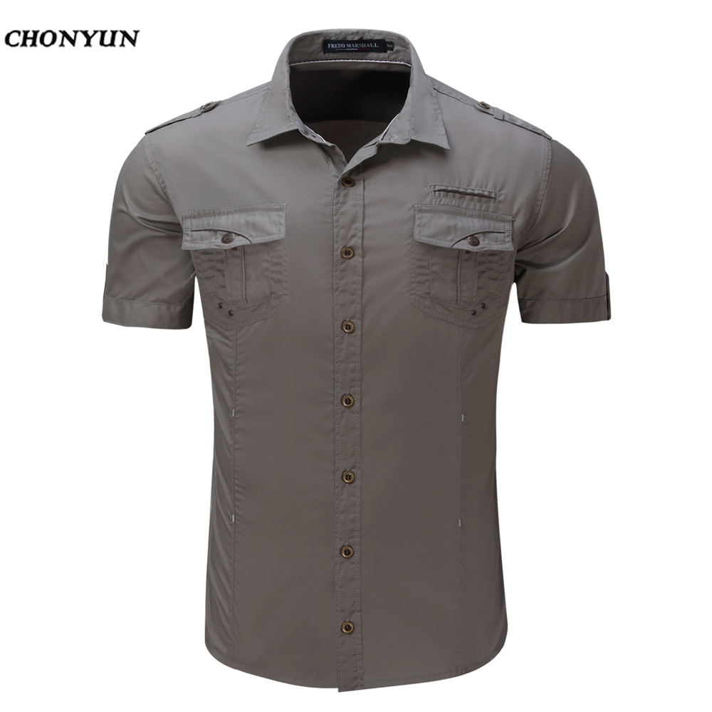 Men Solid Shirt 2019 Brand New Design Short Sleeve Mens Dress Shits 100% Cotton Casual Button Down Shirts Plus Size EUR XXL