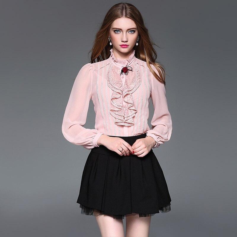 Rose en mousseline de soie chemisier 5xl chemises décontracté bohème femmes chemisiers et hauts dames d'été haute 2019 haut tendance lotus garniture lâche