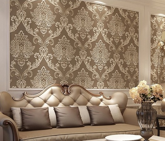 Beigegreycoffee color luxury damascus 3d mural wallpaper wall