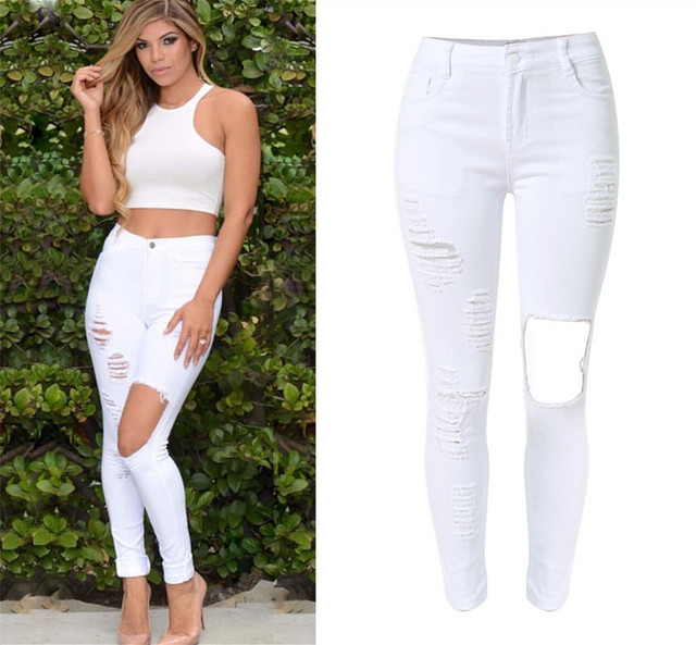10f1556c1a3a2 Hot Sale ripped scatched slim jeans high waisted full length tassels women  pencil pants trousers jegging