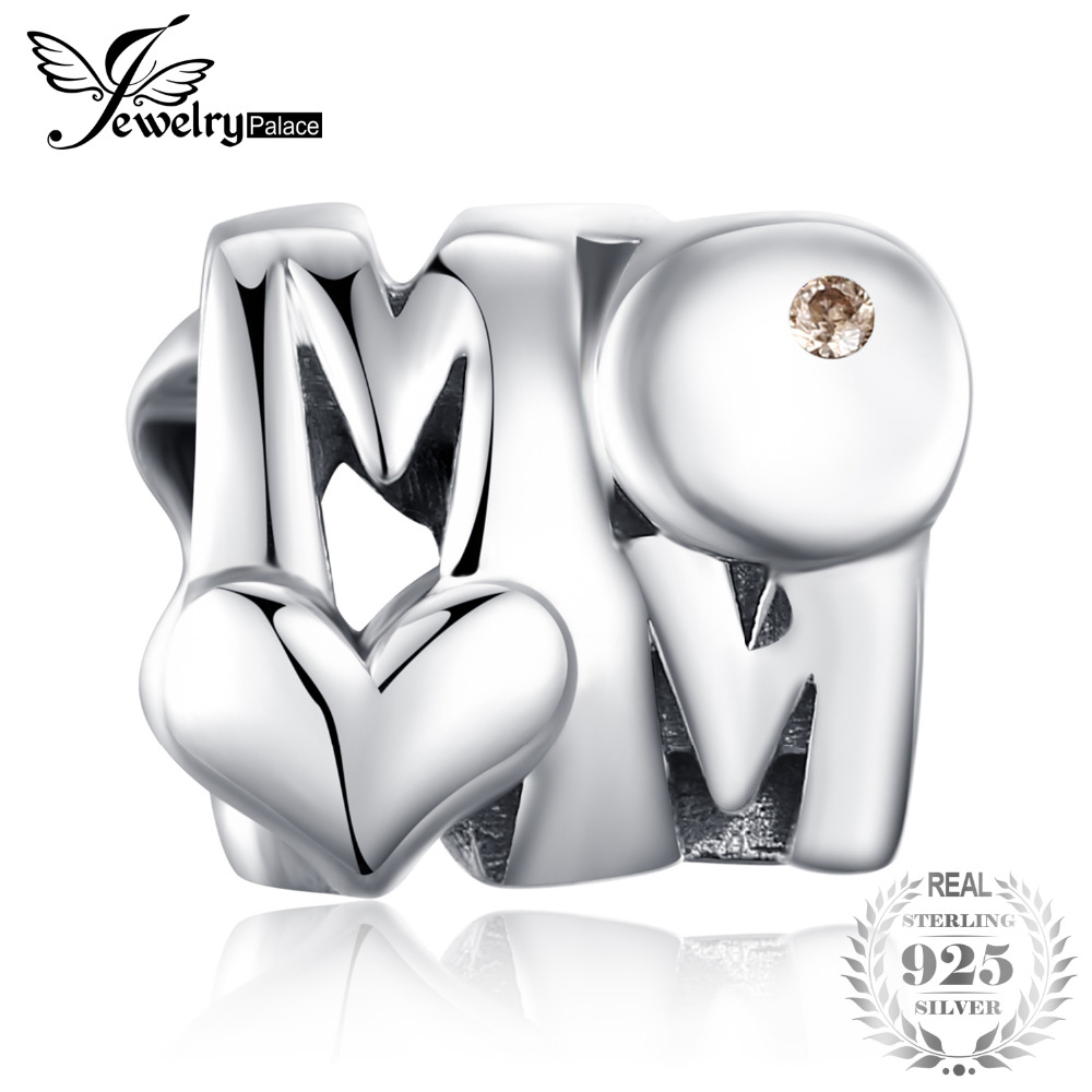 JewelryPalace 925 Sterling Silver Champagne Cubic Zirconia Mom And Heart Charm Beads Fit Bracelets For Your Mother As GiftsJewelryPalace 925 Sterling Silver Champagne Cubic Zirconia Mom And Heart Charm Beads Fit Bracelets For Your Mother As Gifts