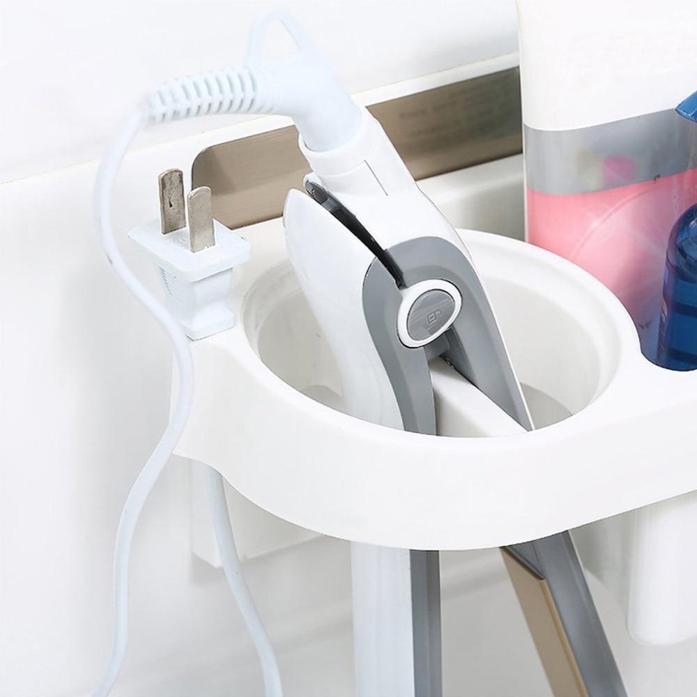 Hair Dryer Rack Comb Holder Bathroom Storage Organizer Self-adhesive Wall Mounted Stand for Shampoo Straightener стоимость