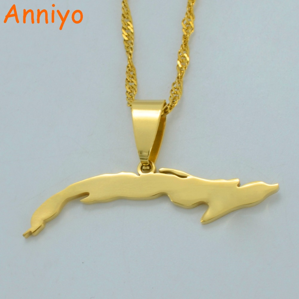Anniyo (Gold or Silver Color)Small Size Cuba Map Necklaces for Women,Map of Cuba Charm Pendant Jewelry With Thin Chain #007121 anniyo turkey map