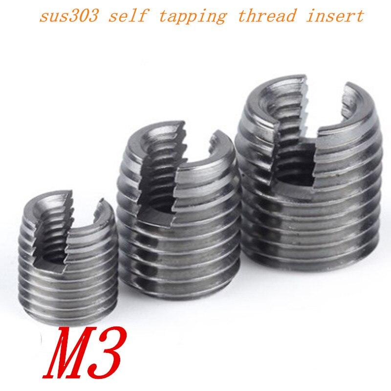 Screw Thread Insert 20pcs Metal Self Tapping Slotted Screw Thread Insert Helical Repair Set Thread Repair Insert