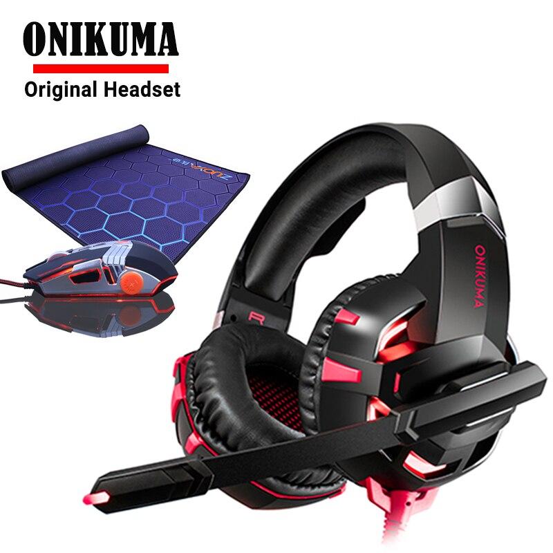 ONIKUMA Gaming Headset e Del Computer Portatile o tablet PC con il mic Cuffie Casque Gamer Cuffie Per Computer AGGIUNGERE USB Gioco Luminoso mouse