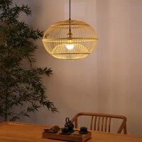 Новая китайская подвеска огни бамбуковый фонарь японский Ресторан подвесной светильник ручной работы бамбуковый фонарь светильники Кафе