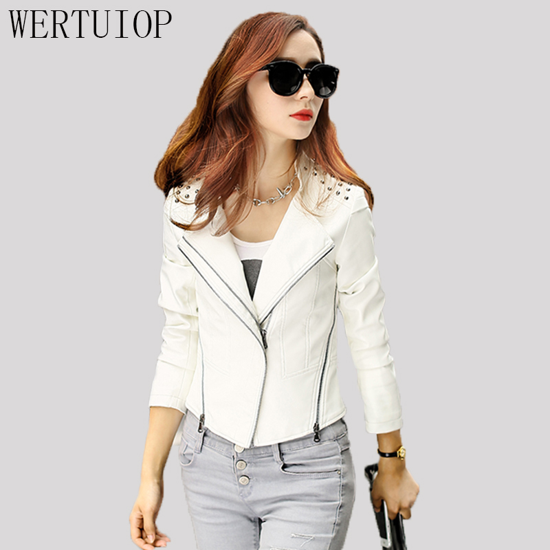 2018 New Fashion Wild Women Rivet Leather Women Short Slim Motorcycle Coat Leather Jacket Women Clothing Jacket Outerwear