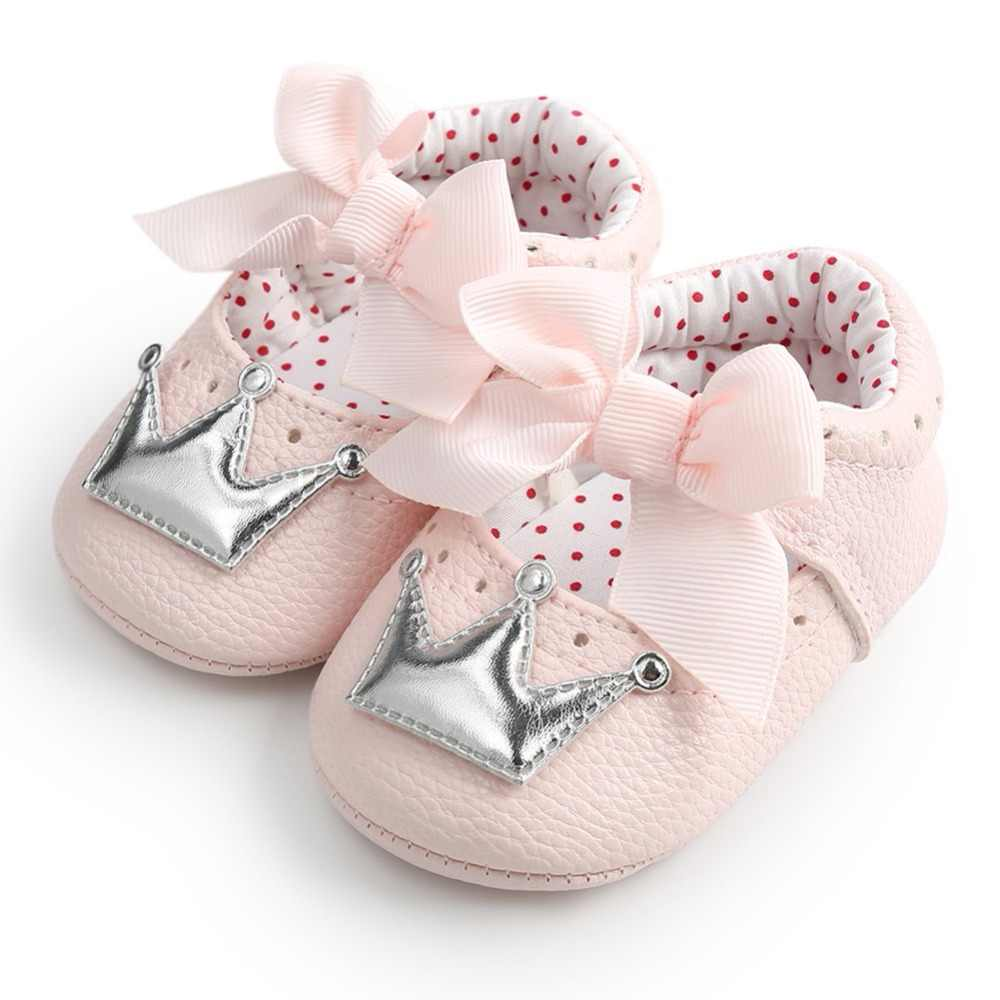 bed570e3186c ... WEIXINBUY Baby Girl Shoes Cute Dots Crown Bling PU Leather Sneakers  Non-slip First Walkers