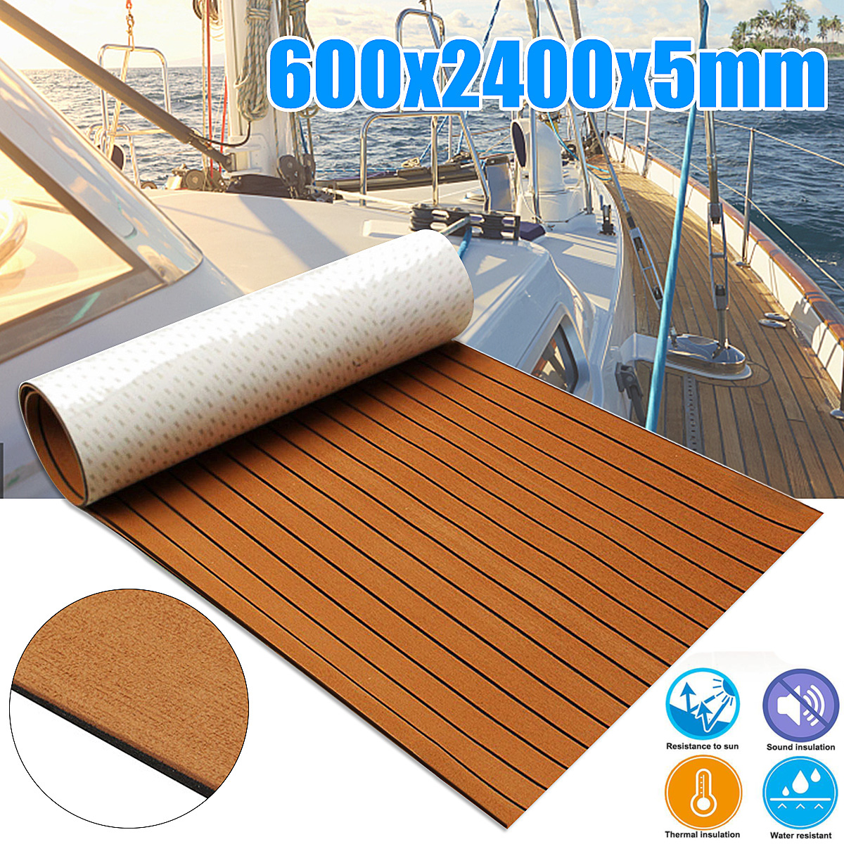 Self-Adhesive 600x2400x5mm Foam Teak Decking EVA Foam Marine Flooring Faux Boat Decking Sheet Accessories Marine Brown Black