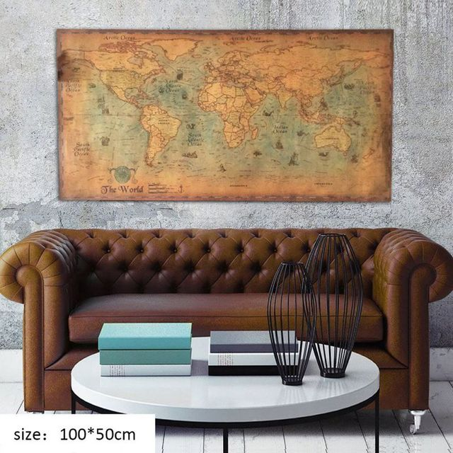 Retro Old Map Wall Nautical Ocean Sea World Art Paper Painting Home Living Room Antique Poster