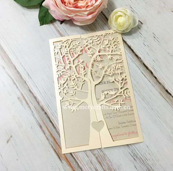 Indian Wedding Invitation Card Wholesale Laser Cut Tree Invitation