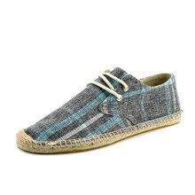 New Hemp Shoes Men 2019 Plaid Fisherman Shoes Canvas Men Casual Shoes Male Driving Breathable Lace-Up Flats Men Espadrille цена 2017
