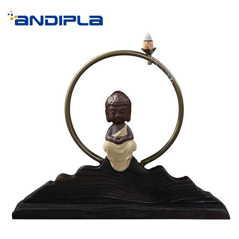 Brûleur d'encens en céramique créatif pour la maison décoration de salon encensoir de parfum noir Base en métal cercle cadeaux de mariage