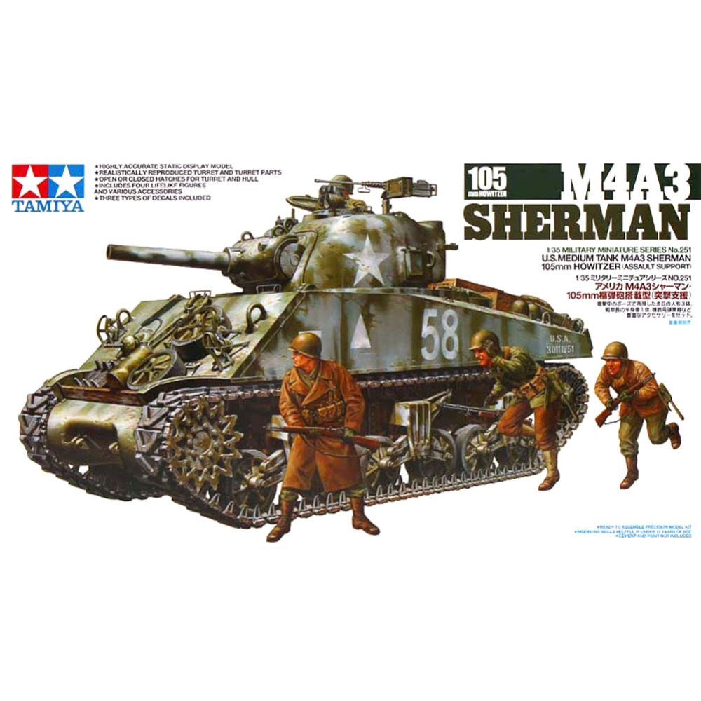 OHS Tamiya 35251 <font><b>1</b></font>/<font><b>35</b></font> US Medium Tank M4A3 Sherman Assembly AFV Model Building <font><b>Kits</b></font> G image